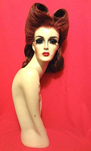 JOAN CRAWFORD WIG Auburn Red Drag Queen Lace Front Wig 40s Victory Rolls RuPaul Drag Race Black Brown Blonde White Pinup Retro Vintage Hair Christmas Costume Theatre Fashion Photography Birthday Party