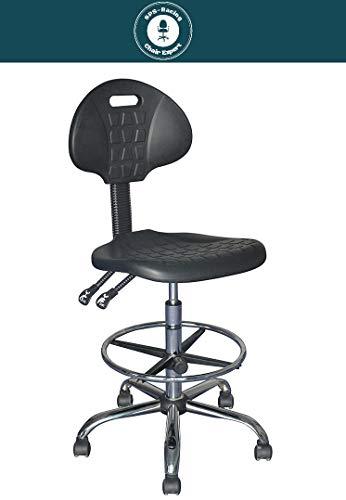 Arbeitsstuhl - OPERATOR - mit Lehne - hochwertiger ergonomischer Bürodrehstuhl, höhenverstellbarer Arbeitshocker, Drehhocker mit verstellbarem Fußring und Stahlgestell, Werkstattstuhl, Lagerstuhl
