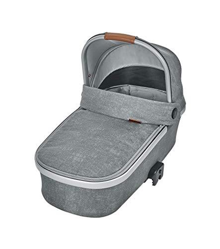 Maxi-Cosi Oria Capazo bebé ligero y plebagle compacto, colchón espacioso y confortable, capota protectora, color nomad grey