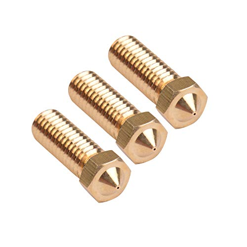 Aibecy-3 Pcs 3D Printer Extruder Volcano Brass Nozzle M6 Thread Printer Head 0.4mm Output for Sidewinder X1 Tevo Little Monster Filament 1.75mm