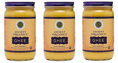 Ancient Organics Ghee, Organic Grass Fed Ghee Butter – Gluten Free Ghee, Clarified Butter, Vitamins & Omegas, Lactose Reduced, 100% Certified Organic, Kosher, USDA Certified – 32 Fl Oz (Pack of 3)