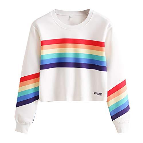 Dasongff trui voor dames, meisjes, regenboogstrepen, vrouwen, opzetting, lange mouwen, modieuze gebreide trui voor buikvrij, gebreide vest, losse sweatshirt, blouse, bovenstukken