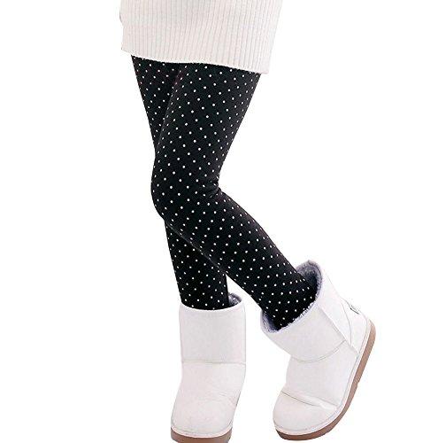 Mädchen Gedruckt Leggings Dicke Warme Leggins Elastische Legging Hosen Jeggings Punkt Schwarz 140CM