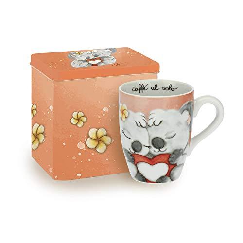 THUN ® - Mug Linea Sydney in Love per tè, caffè, tisana - Porcellana - 300 ml - ø 8,5 cm - con Scatola in Latta