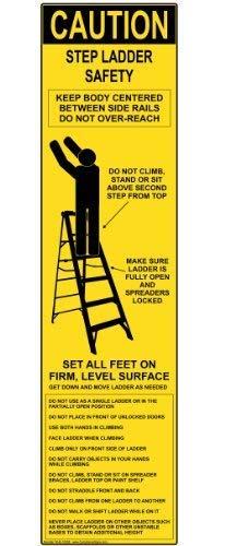 BRILLON Step Safety Ladder Metalen bord, 3x12 inch met Engels, Geel, Aluminium