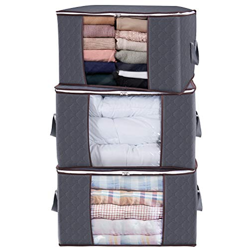Lifewit Large Capacity Clothes Storage Bag Organizer with Reinforced Handle Thick Fabric for Comforters, Blankets, Bedding, Foldable with Sturdy Zipper, Clear Window, 3 Pack, 90L, Grey