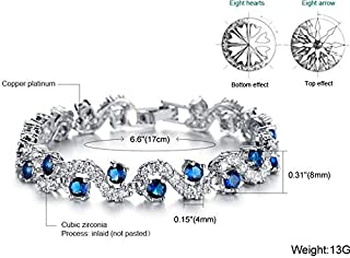 Women Dark Blue zircon platinum Plated bracelet(DS931)