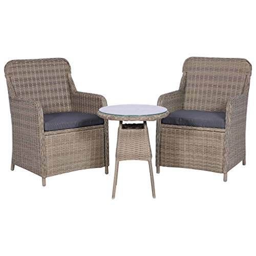 vidaXL 3 Piece Synthetic Rattan Garden Furniture Set with Cushions Brown Terrace
