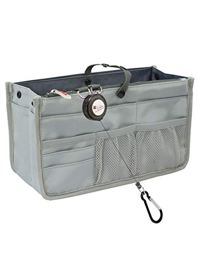 Dahlia's Patented Handbag Purse Organizer Insert - STURDY Flexible, Gray