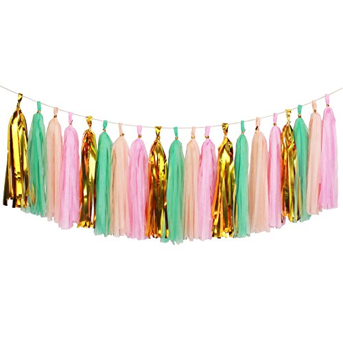 Aonor 20 PCS Shiny Tassels Garland - Tissue Paper Tassels Banner for Wedding, Baby Shower, Festival Party Wall Decoration (Pink-Mint-Peach-Gold)