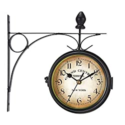 WICHEMI Retro Wall Clock Double-Sided European Antique Style Creative Classic Wall Hanging Clocks Outdoor Living Room Bedroom Study Wall Decoration, Diameter: 4.7/12cm