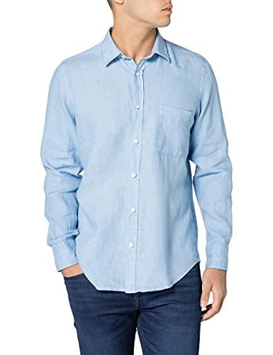 BOSS Herren Relegant 2 Regular-Fit Hemd aus reinem Leinen mit Logo-Fähnchen