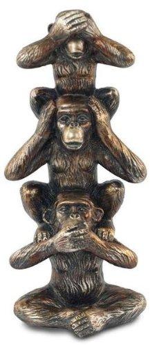 Signes - Figura decorativa de 3 monos blancos, resina, 20 cm
