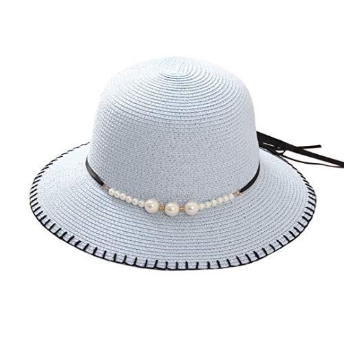 Multifit Women's Floppy Foldable Straw Sunhat Summer Beach Packable Bucket Hat Cap with Bead Decoration for Travel(Light Blue)