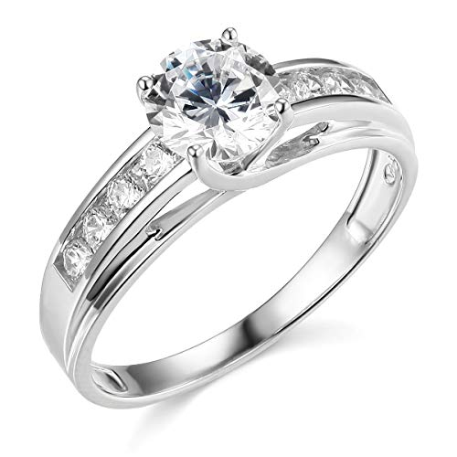 TWJC 14k Real White Gold Solid Wedding Engagement Ring - Size 8