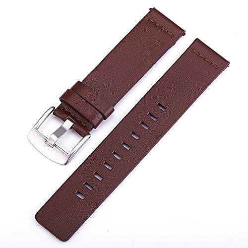 LINMAN Correa de Cuero clásica Genuina 20 mm Jóvenes Smart Watch Pulsera de muñeca portátil Black Brown Wamkband (Band Color : Zh01, tamaño : 20mm)