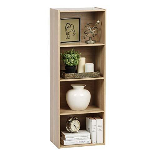 Movian Cube Bookcase CX-4 Iris Ohyama, Muebles de Almacenamiento 4 compartimentos, Estantería 4 repisas de Madera CX-4, 41.5 x 29 x 116.5 cm, MDF, Beige (Roble Claro)