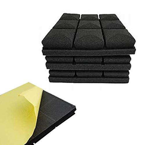 YBINGA 12 paneles adhesivos de espuma acústica de diseño de hongos paneles de espuma a prueba de sonido, 2 x 12 x 12 pulgadas para aislamiento acústico absorbente para aspiradora