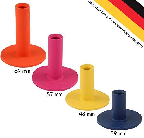 Golfas 4 Gummitees für die Driving-Range Matte - Rangetees - Rubbertees - Wintertees in Höhen zu je: 39/48 / 57/69 mm
