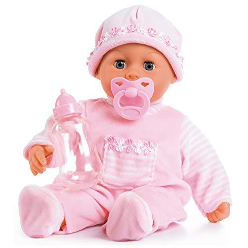 Bayer Design 93824AA Babypuppe First Words mit Schlafaugen, spricht 24 Babylaute, mit Schnuller und Flasche, 38 cm, rosa