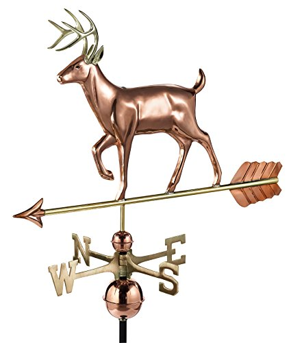 Good Directions White Tail Buck/Deer Weathervane, Pure Copper, Rooftop, Roof Décor, Wildlife