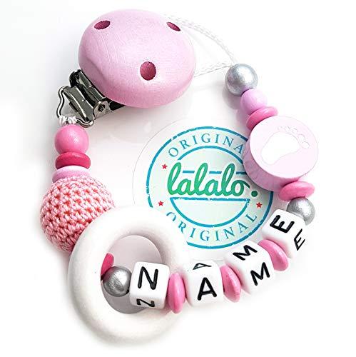 LALALO fopspeenketting voeten met naam + gehaakte parel & houten ring, baby fophouder van hout, handgemaakte individuele voet naamketting voor geboorte, verjaardag, Kerstmis, doop roze