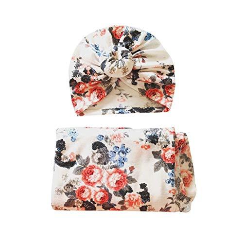 WangsCanis Baby Wickeldecke Blume Neugeborene Schlaf Fotografie Musselin Wrap Swaddle Decke mit Hut Krankenhaus Turban (Donut #A, 35