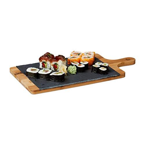 Relaxdays Deska do serwowania, bambus, łupek, deska do krojenia, uchwyt, rustykalna, wys. x szer. x gł.: 1,8 x 45 x 22,5 cm, szara