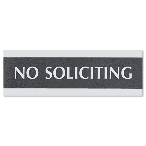 Headline Sign Products - Headline Sign - Century Series Office Sign, No Soliciting, 9 x 1/2 x 3, Black/Silver - Sold As 1 Each - The perfect solution to upgrade or coordinate the office d??cor. - Stand alone for countertop display or mountable for door o