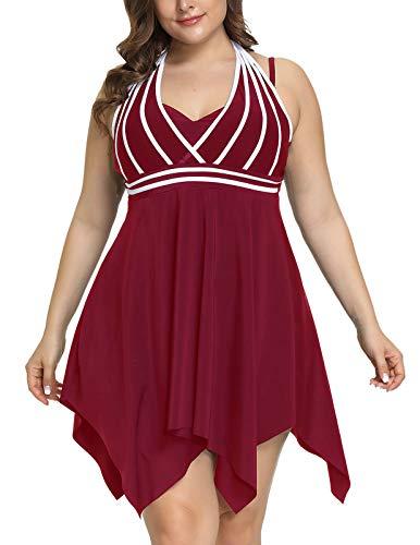 Hanna Nikole Women Tummy Control Swimwear with Boyshorts 2 Pieces Plus Size Bathing Suit 24W Wine Red