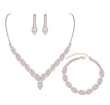 YSOUL Sparkling CZ Rhinestone Necklace Earrings Jewelry Set For Bridal Bridesmaid Wedding Evening Party Prom  3 SET-Rose Gold