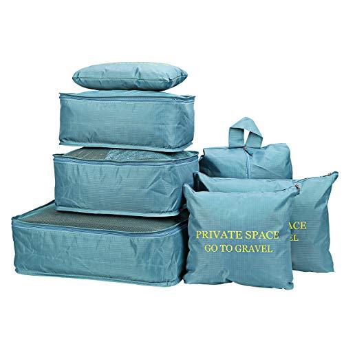 7pcs Bolsas De Almacenamiento De Viaje a Prueba De Agua Ropa Embalaje Cubo Organizador De Equipaje Bolsa (Azul)