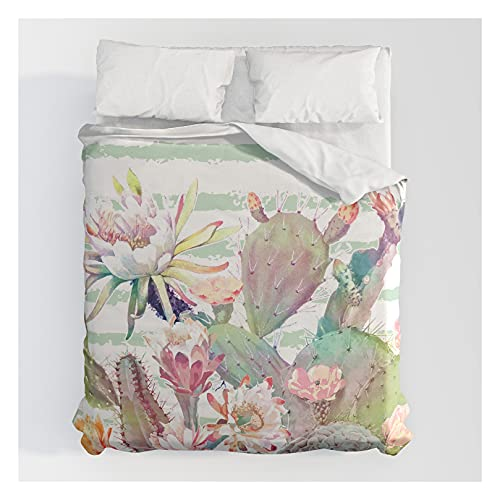 Society6 Watercolor Cactus, Floral and Stripes Design by Inovarts on Cotton Duvet Covers