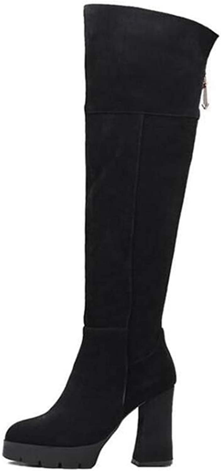 Female Knee High Boots Womens Boots Winter Slim Zipper Chunky Female Comfortable Boots