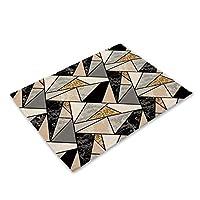 WYHA 1PCSカラフルな幾何学プリントキッチンプレースマットダイニングテーブルマットコースターコットンリネンパッドカップマット42 * 32センチメートルホームデコレーション (Color : 2CD ML0001 5)