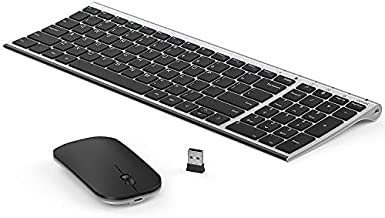 Rechargeable Wireless Keyboard Mouse, Seenda Ultra Small Compact Low Profile Keyboard and Mouse Combo with Number Pad(Aluminum Base, Long Battery Life)-Silver and Black