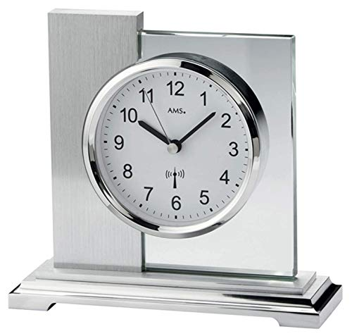 AMS Funk Tischuhr, Holz, Silber, 17 cm x 16 cm x 6 cm