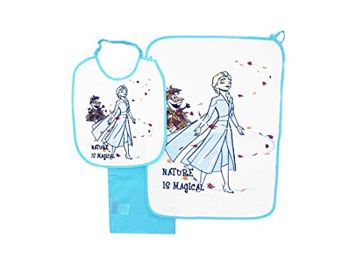 Set Bavetta + Tovaglietta Plastificata + Sacchetto per Asilo (Frozen Celeste WX2013)