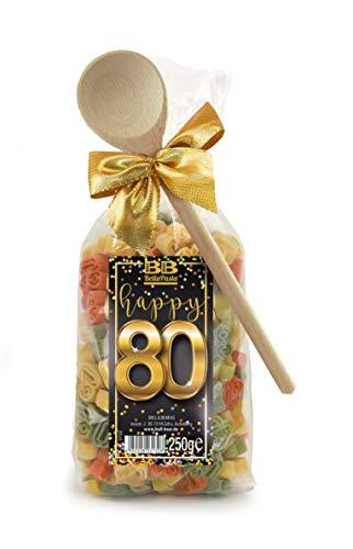Pasta Präsent Happy 80 mit bunten Zahl-Nudeln handgefertigt in deutscher Manufaktur