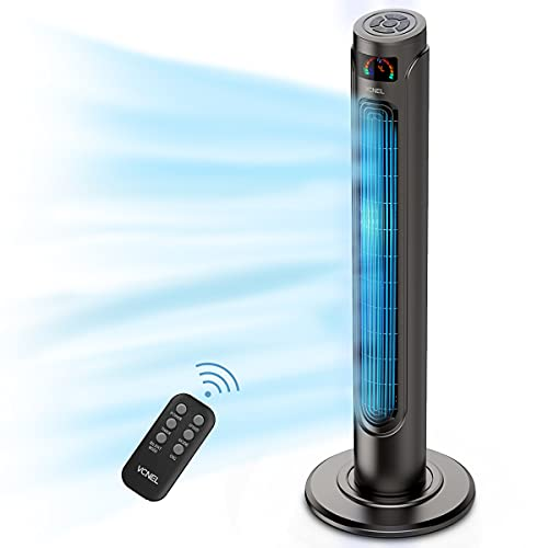 """36"""" Tower Fan with Remote, VCNEL Oscillating Fans Portable Floor Bladeless Fan with Quiet Cooling, 15H Timer, 9 Modes, LED Display with Auto Off, Space-Saving for Bedroom Living Rooms Office"""