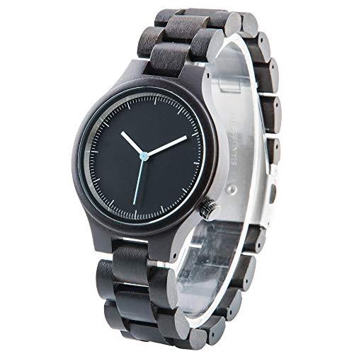 Herren-Holzuhr analog mit Sandelholz-Armband, Unisex-Uhr aus Holz Graviert, Geburtstagsgeschenke Geschenk Hochzeit Gravur Geschenke