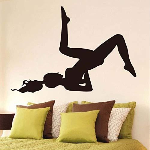 yiyiyaya Wandaufkleber Wohnkultur Yoga Styles Vinyl Wandaufkleber Yoga Silhouette Wandkunst Aufkleber Für Zuhause Wohnzimmer schwarz 83 cm X 58 cm