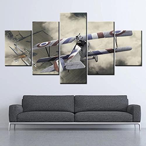 GUANGWEI HD Poste Impresión Modular Alta Definición con Marco Elástico Moderno De Tela No Tejida Game, Plane Muebles Modernos Arte Decoración Pared Pintura 5 Pinturas Combinadas