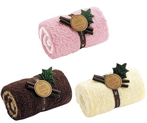 食べたくなる 美味しそうな ロールケーキ風 タオル かわいい ケーキボックス風パッケージ プチギフト 贈り物 景品 (1 3個セット)