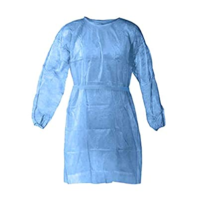 Sinwo 25 Pcs Disposable Protective Clothing, Medical Isolation Gowns, Protective Coverall - Elastic Cuffs with Waist and Neck Tie Closures - Examination Gowns for Women Men