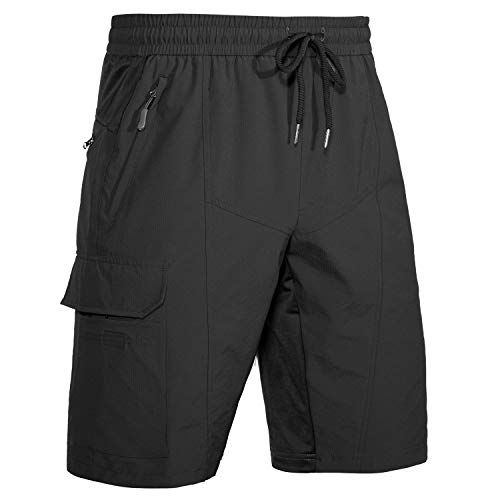 Wespornow Men's-Hiking-Shorts Quick-Dry-Outdoor-Shorts Lightweight-Cargo-Shorts for Hiking, Camping, Travel (Black, Small)