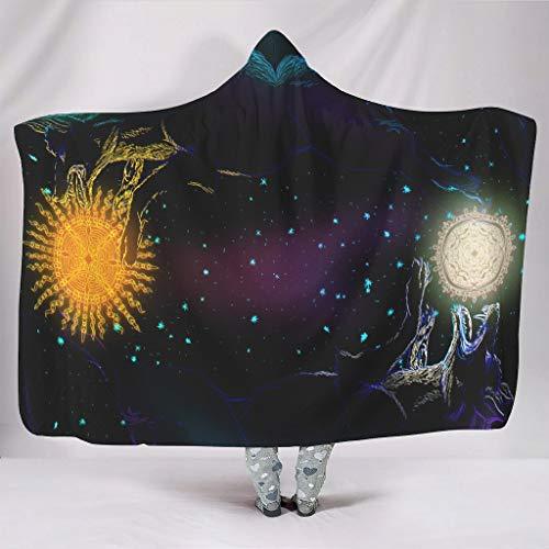 Wandlovers Manta suave con capucha Fantasy Wolf Hoti y Skoll, sol y luna, impresión cálida de invierno, creativa 3D siesta con capucha, color blanco, 150 x 200 cm