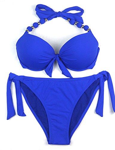 EONAR Damen Seitlich Gebunden Bikini-Sets Abnehmbar Bademode Push-up-Bikinioberteil mit Nackenträger, Blau, (Größe:38)70C/75C/80B