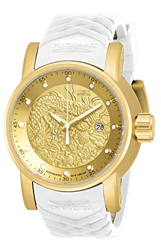 Invicta Men's S1 Rally Stainless Steel Automatic-self-Wind Silicone Strap, Beige, 24 Casual Watch (Model: 19546)