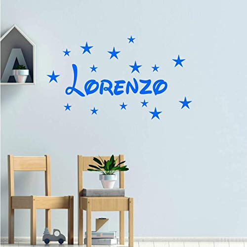 Stickers mural prénom disney + 15 étoiles. Décoration mur chambre enfant/bébé fille ou garçon. 14 couleurs au choix.